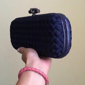 Bottega Veneta knot clutch navy blue python trim